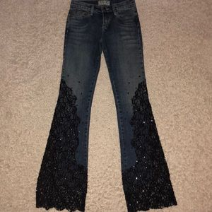 Allen B Denim Lace Beaded Jeans Size 26 x 33 1/2